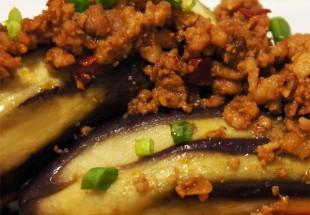 米ナスとひき肉の挟み蒸し、にんにく醤油ソース